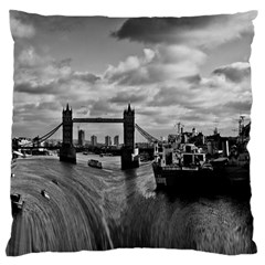 River Thames Waterfall Large Cushion Case (one Side) by Londonimages