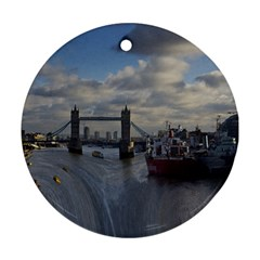 Thames Waterfall Color Twin Sided Ceramic Ornament (round) by Londonimages