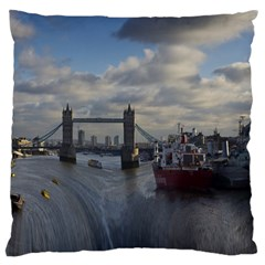 Thames Waterfall Color Large Cushion Case (two Sides) by Londonimages