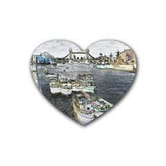 River Thames Art 4 Pack Rubber Drinks Coaster (heart) by Londonimages