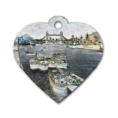 River Thames Art Twin-sided Dog Tag (heart) by Londonimages