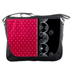 Lace Dots With Black Pink Messenger Bag by strawberrymilk
