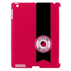 Brand Ribbon Black With Pink Apple Ipad 3/4 Hardshell Case (compatible With Smart Cover)