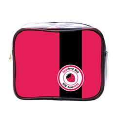Brand Ribbon Black With Pink Mini Toiletries Bag (one Side) by strawberrymilk