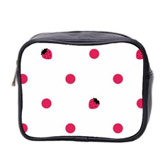 Strawberry Dots Pink Mini Toiletries Bag (two Sides)