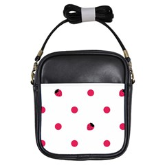 Strawberry Dots Pink Girls Sling Bag by strawberrymilk