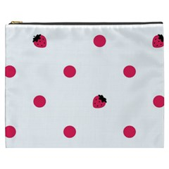 Strawberry Dots Pink Cosmetic Bag (xxxl) by strawberrymilk