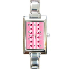 Strawberry Cream Cake Rectangular Italian Charm Watch