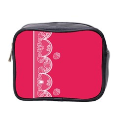 Strawberry Lace White With Pink Mini Toiletries Bag (two Sides)