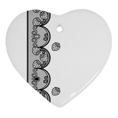 Lace White Dots White With Black Heart Ornament (two Sides) by strawberrymilk