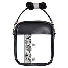 Lace White Dots White With Black Girls Sling Bag by strawberrymilk