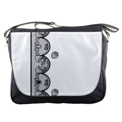 Lace White Dots White With Black Messenger Bag by strawberrymilk