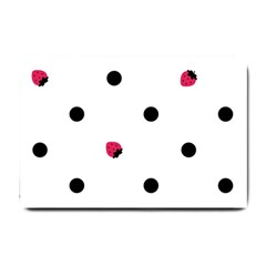 Strawberry Dots Black Small Doormat by strawberrymilk