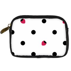 Strawberry Dots Black Digital Camera Leather Case