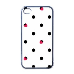 Strawberry Dots Black Apple Iphone 4 Case (black)