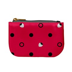 Strawberry Dots Black With Pink Mini Coin Purse by strawberrymilk