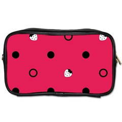 Strawberry Dots Black With Pink Toiletries Bag (one Side) by strawberrymilk