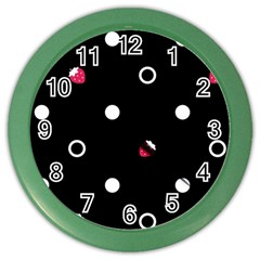 Strawberry Dots White With Black Color Wall Clock
