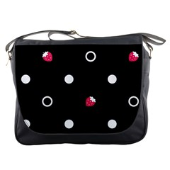 Strawberry Dots White With Black Messenger Bag by strawberrymilk