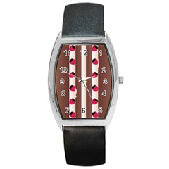 Choco Strawberry Cream Cake Barrel Style Metal Watch