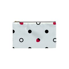 Strawberry Circles Black Small Makeup Purse