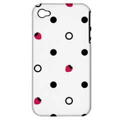Strawberry Circles Black Apple Iphone 4/4s Hardshell Case (pc+silicone) by strawberrymilk