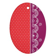 Lace Dots With Violet Rose Ornament (oval) by strawberrymilk