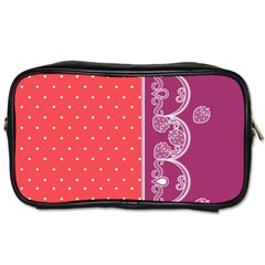 Lace Dots With Violet Rose Toiletries Bag (one Side) by strawberrymilk