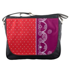 Lace Dots With Violet Rose Messenger Bag by strawberrymilk