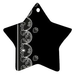 Strawberry Lace White With Black Twin Sided Ceramic Ornament (star)