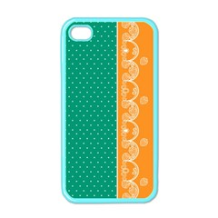 Lace Dots Gold Emerald Apple Iphone 4 Case (color)