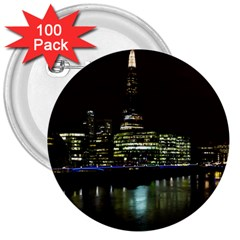 The Shard And Southbank London 100 Pack Large Button (round) by Londonimages