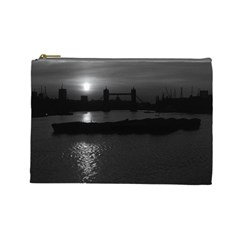Vintage Uk England London Sun Sets Tower Bridge 1970 Large Makeup Purse by Vintagephotos
