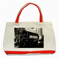 Vintage Uk England London Double Decker Bus 1970 Red Tote Bag