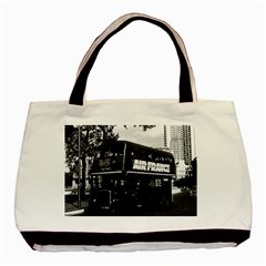 Vintage Uk England London Double Decker Bus 1970 Twin Sided Black Tote Bag by Vintagephotos