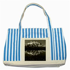 Vintage Usa Alaska Magnificent Mt Mckinley 1970 Blue Striped Tote Bag by Vintagephotos