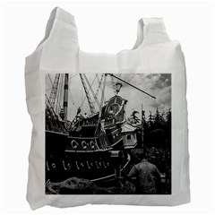 Vintage Usa California Disneyland Sailing Boat 1970 Twin Sided Reusable Shopping Bag by Vintagephotos
