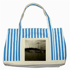 Vintage Principality Of Monaco The Port Of Monaco 1970 Blue Striped Tote Bag by Vintagephotos