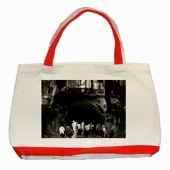 Vintage China Guilin Folded Brocade Hill 1970 Red Tote Bag by Vintagephotos