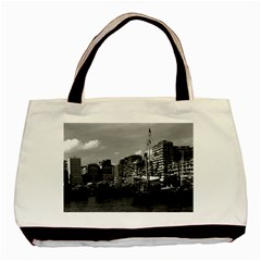 Vintage China Hong Kong Houseboats River 1970 Black Tote Bag by Vintagephotos