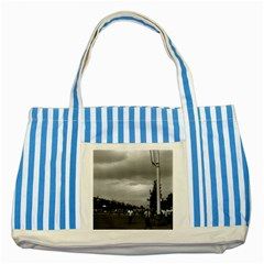 Vintage China Pekin Street Tiananmen Square 1970 Blue Striped Tote Bag by Vintagephotos