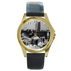 Vintage Uk England London Hyde Park Corner Hilton 1970 Black Leather Gold Rim Watch (round) by Vintagephotos