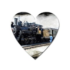 The Steam Train Large Sticker Magnet (heart) by AkaBArt