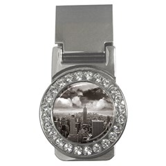 New York, Usa Money Clip With Gemstones (round)