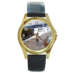 Rainy Day, Salzburg Black Leather Gold Rim Watch (round)