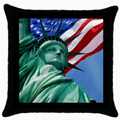 Statue Of Liberty, New York Black Throw Pillow Case