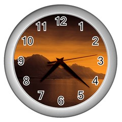 Waterscape, Switzerland Silver Wall Clock by artposters