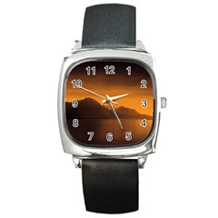 Waterscape, Switzerland Black Leather Watch (square) by artposters