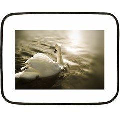 Swan Twin Sided Mini Fleece Blanket by artposters