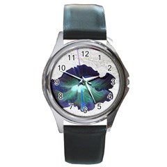 Exotic Hybiscus   Black Leather Watch (round)